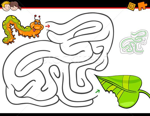 Rajz labirintus tevékenység hernyó levél illusztráció Stock fotó © izakowski