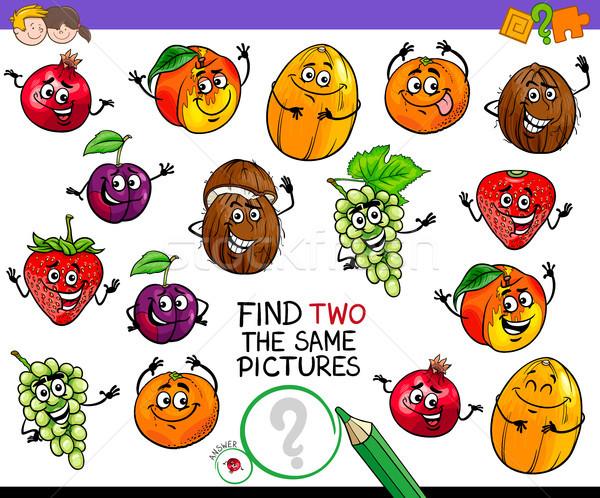 find two the same fruit characters game Stock photo © izakowski