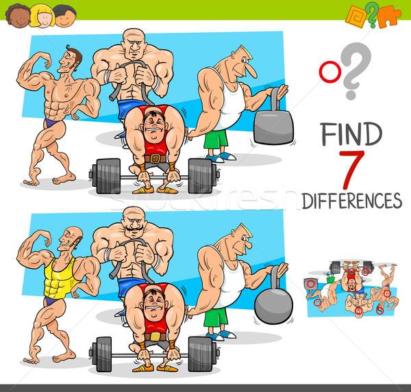 Encontrar diferenças jogo atletas desenho animado ilustração Foto stock © izakowski