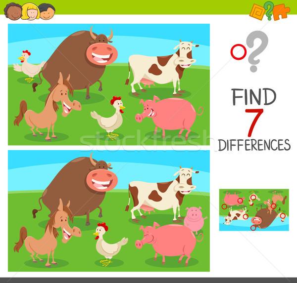 differences game with farm animals Stock photo © izakowski