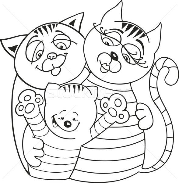 Cats family for coloring book Stock photo © izakowski