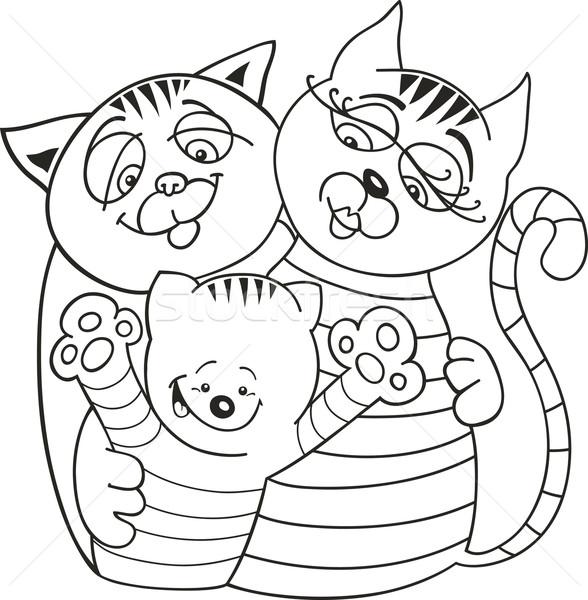 Kediler Aile Boyama Kitabı Kedi Anne Vektör Ilüstrasyonu
