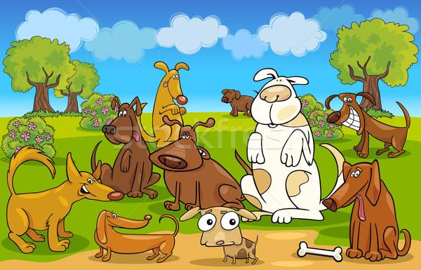 Cartoon dogs on the meadow Stock photo © izakowski