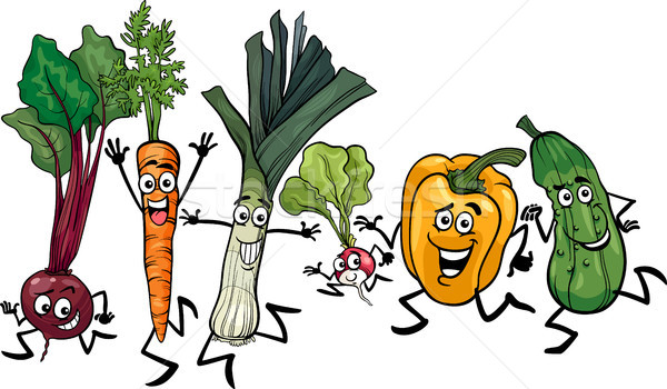 running vegetables cartoon illustration Stock photo © izakowski