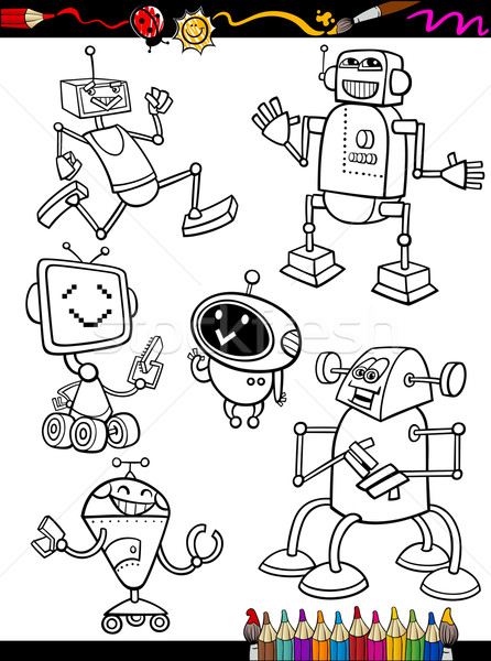 Stockfoto: Robots · cartoon · ingesteld · kleurboek · pagina · illustratie