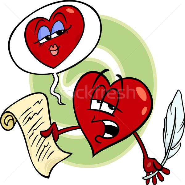Kalp okuma sevmek şiir karikatür örnek Stok fotoğraf © izakowski