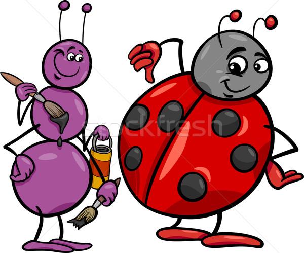 Fourmi coccinelle cartoon illustration insectes Photo stock © izakowski