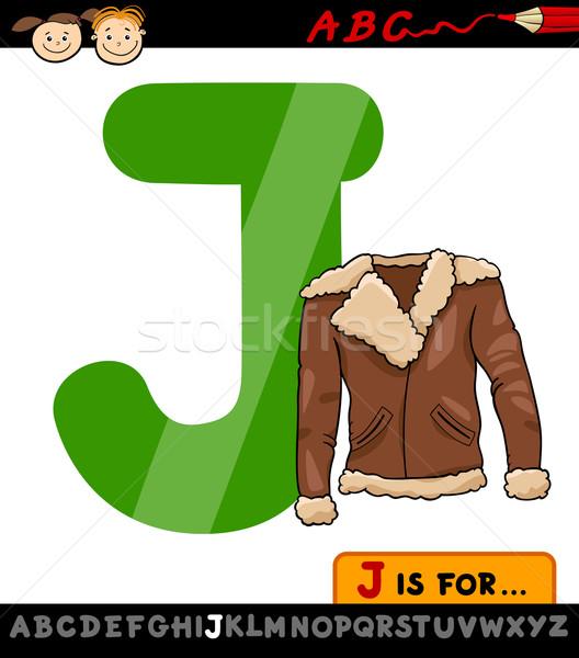 letter j with jacket cartoon illustration Stock photo © izakowski
