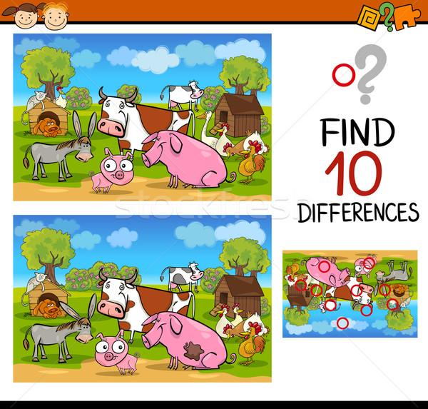 Diferenças corpo animais de fazenda desenho animado ilustração Foto stock © izakowski