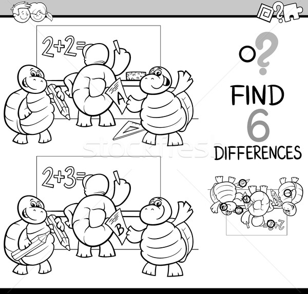 Verschillen pagina zwart wit cartoon illustratie bevinding Stockfoto © izakowski