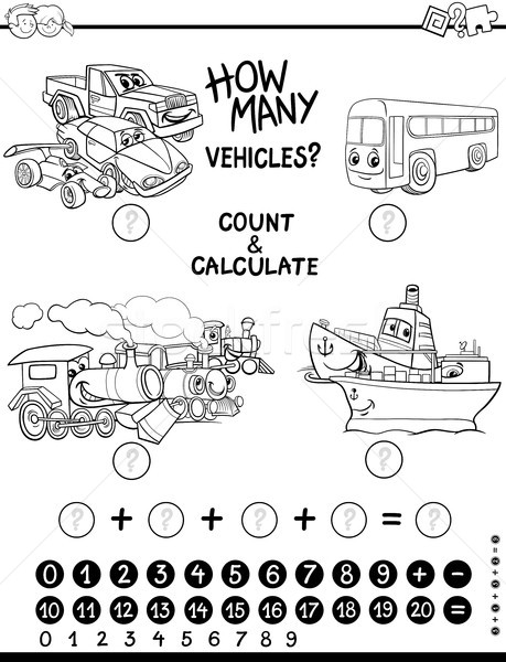 Stock photo: count and calculate coloring page