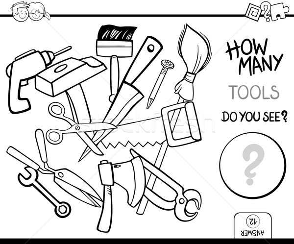counting tools coloring page activity Stock photo © izakowski