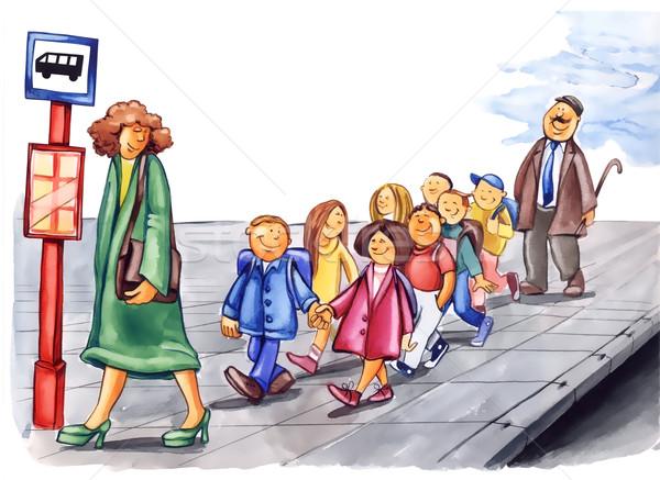 Сток-фото: вежливый · детей · автобусная · остановка · Живопись · иллюстрация · женщину