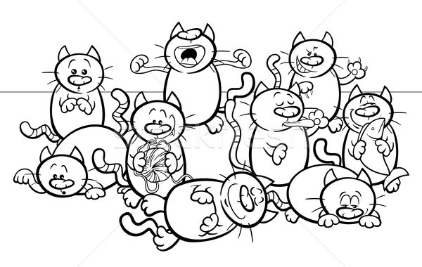 funny cats cartoon illustration color book Stock photo © izakowski