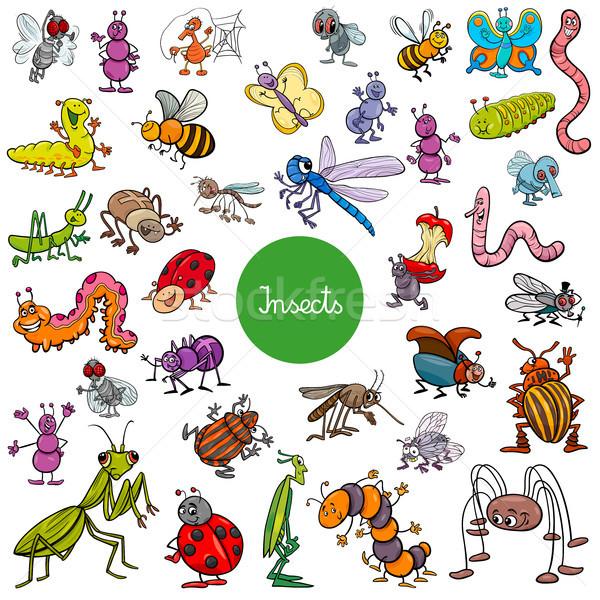 Rajz rovarok állat betűk nagy szett Stock fotó © izakowski