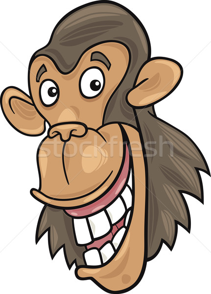 Csimpánz rajz illusztráció vicces emberszabású majom boldog Stock fotó © izakowski