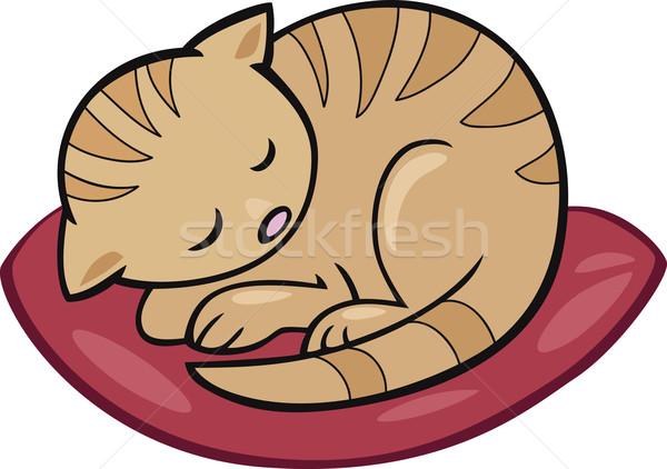 Dormire gattino cartoon illustrazione cat arte Foto d'archivio © izakowski