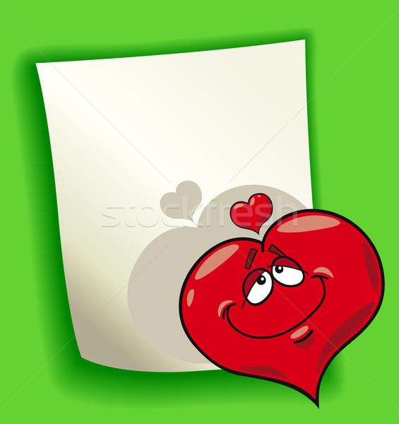 Desenho animado projeto coração amor ilustração página em branco Foto stock © izakowski