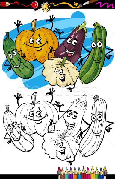 Stock photo: vegetables group cartoon for coloring book