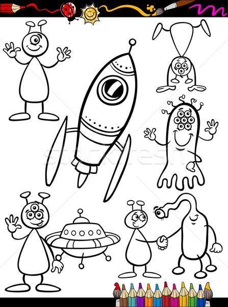 Aliens Cartoon Set for coloring book Stock photo © izakowski