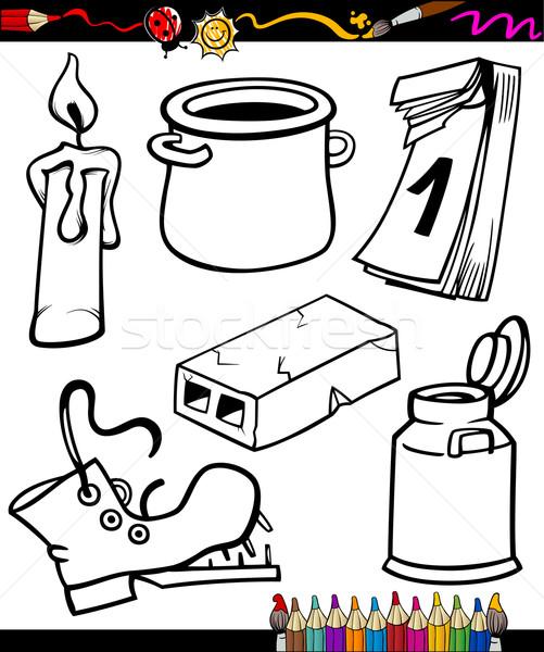 Nesneler Karikatür Ayarlamak Boyama Kitabı Sayfa örnek