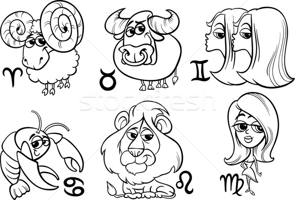 Horoscope zodiac signes blanc noir cartoon Photo stock © izakowski
