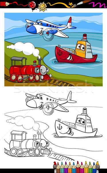 cartoon plane train ship coloring page Stock photo © izakowski