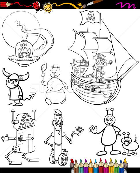 Stock photo: fantasy cartoon set for coloring book