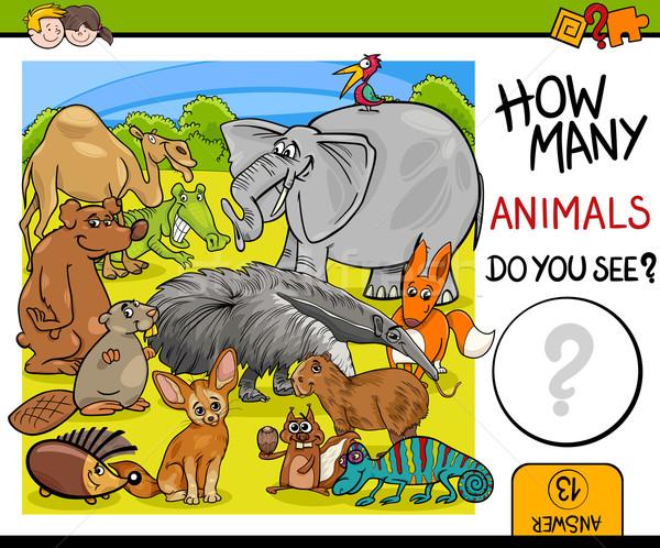 count animals activity for children Stock photo © izakowski