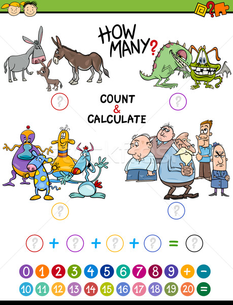 Math educativo attività ragazzi cartoon illustrazione Foto d'archivio © izakowski
