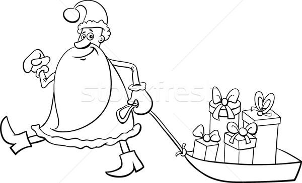 Papai Noel Pagina Preto E Branco Desenho Animado