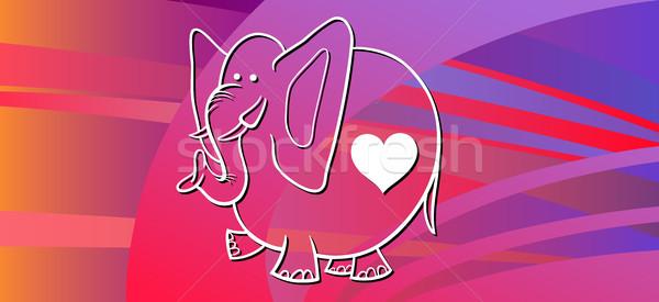 Olifant valentijnsdag wenskaart cartoon illustratie Stockfoto © izakowski