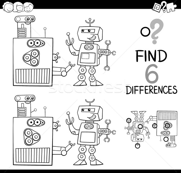 differences with robots coloring page Stock photo © izakowski
