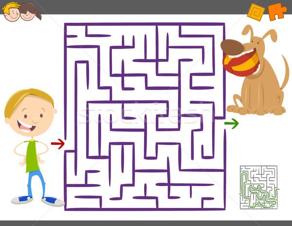Labirinto attività gioco ragazzi cartoon illustrazione Foto d'archivio © izakowski