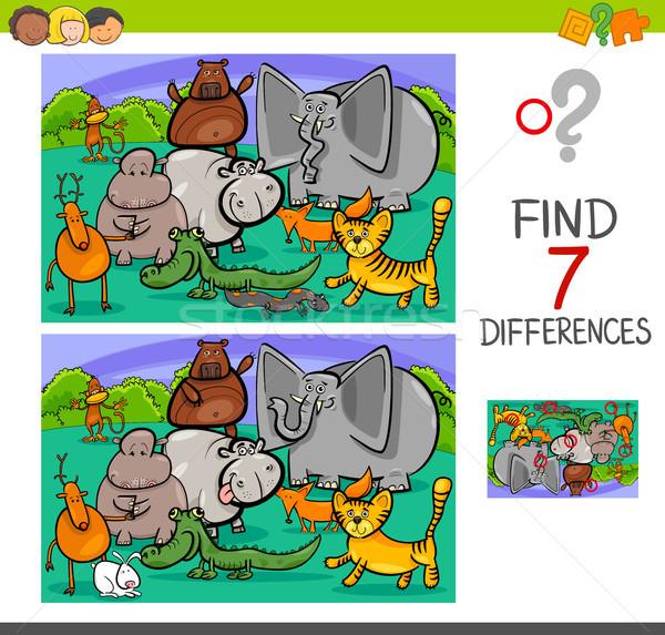 search differences game with animals Stock photo © izakowski