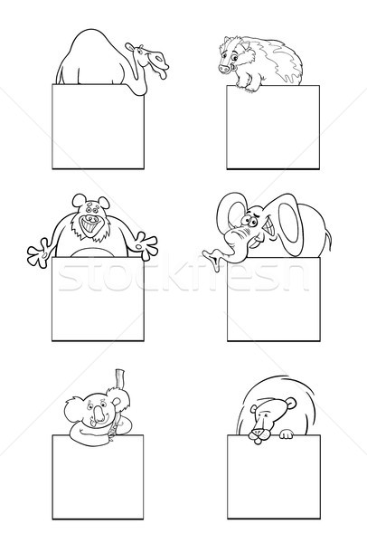 animals with cards black and white set Stock photo © izakowski