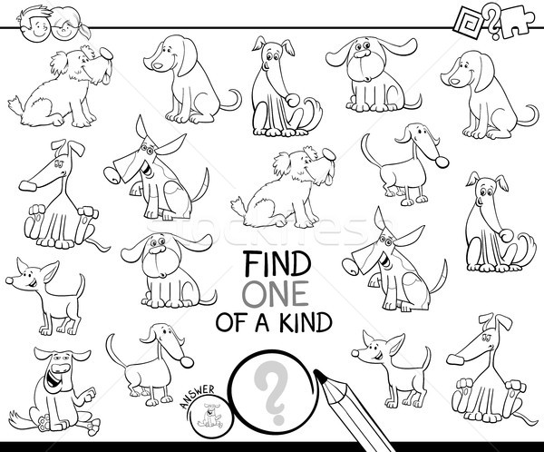 one of a kind game with dogs color book Stock photo © izakowski