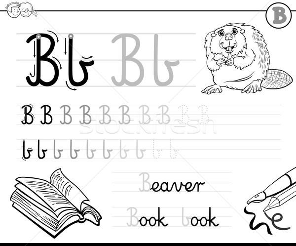 написать письме рабочая тетрадь черно белые Cartoon иллюстрация Сток-фото © izakowski
