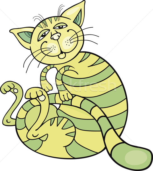 happy green cat Stock photo © izakowski