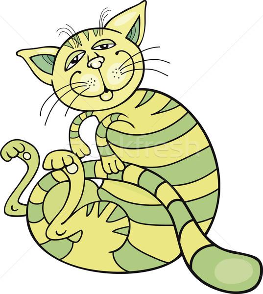 счастливым зеленый кошки Cartoon иллюстрация искусства Сток-фото © izakowski