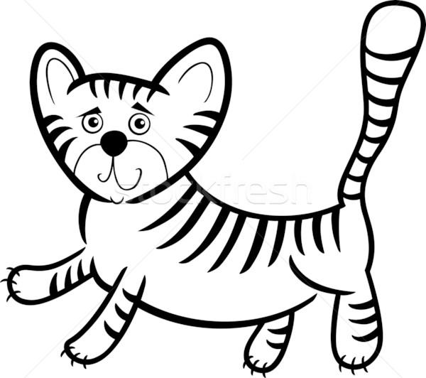 cartoon tiger for coloring book Stock photo © izakowski