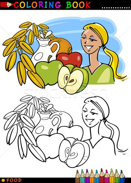 Sağlıklı Kahvaltı Boyama Kitabı Sayfa Karikatür örnek