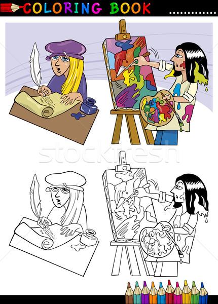 Malarz cartoon kolorowanka strona ilustracja piśmie Zdjęcia stock © izakowski