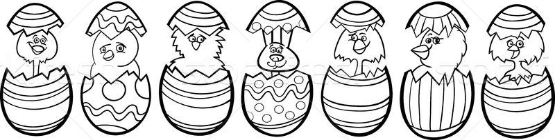 Ovos de páscoa desenho animado preto e branco ilustração seis pequeno Foto stock © izakowski