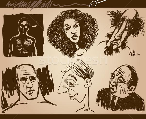 Ludzi twarze karykatura szkic rysunki zestaw Zdjęcia stock © izakowski