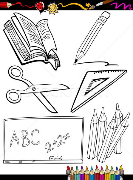 Desen Animat şcoală Obiecte Carte De Colorat