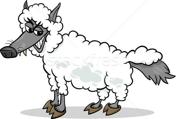 wolf in sheeps clothing cartoon Stock photo © izakowski
