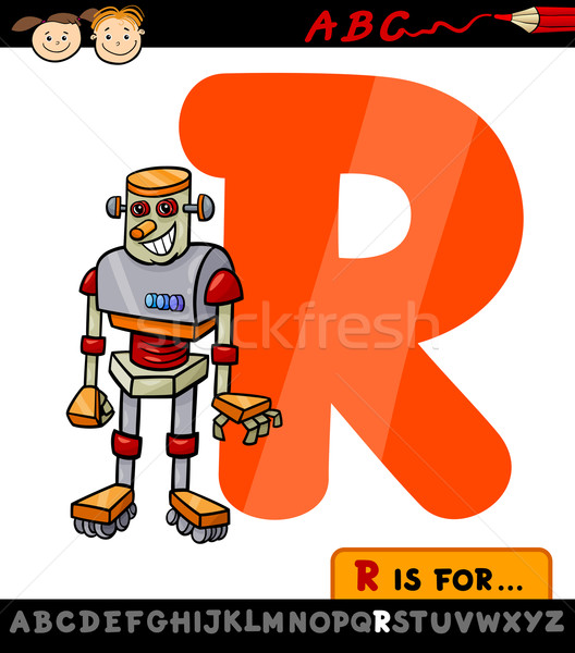 letter r with robot cartoon illustration Stock photo © izakowski