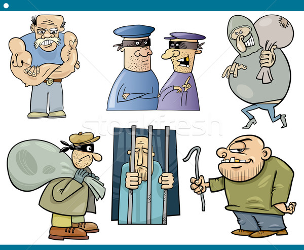 thieves and thugs cartoon set Stock photo © izakowski