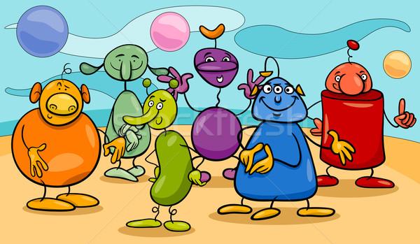 cartoon fantasy characters group Stock photo © izakowski